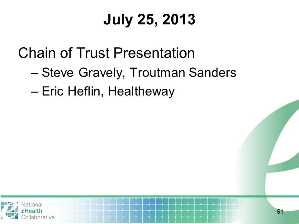 July 25, 2013 Chain of Trust Presentation – Steve Gravely, Troutman Sanders – Eric Heflin, Healtheway 51