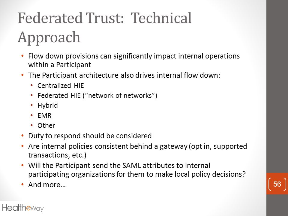 Federated Trust: Technical Approach Flow down provisions can significantly impact internal operations within a Participant The Participant architectur