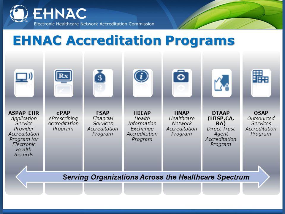 EHNAC Accreditation Programs ASPAP-EHR Application Service Provider Accreditation Program for Electronic Health Records ePAP ePrescribing Accreditatio