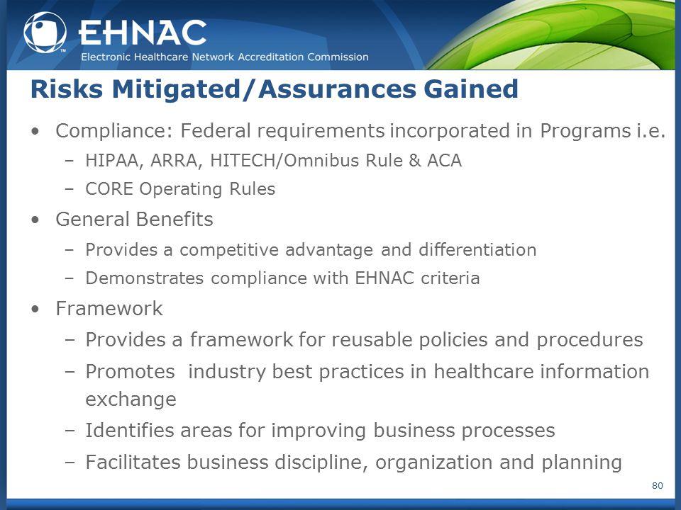Risks Mitigated/Assurances Gained Compliance: Federal requirements incorporated in Programs i.e. –HIPAA, ARRA, HITECH/Omnibus Rule & ACA –CORE Operati
