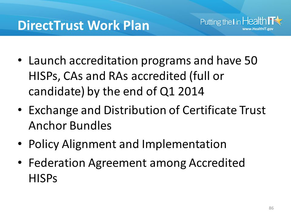 DirectTrust Work Plan Launch accreditation programs and have 50 HISPs, CAs and RAs accredited (full or candidate) by the end of Q1 2014 Exchange and D