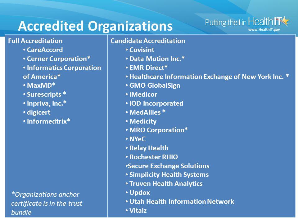 Accredited Organizations 88 Full Accreditation CareAccord Cerner Corporation* Informatics Corporation of America* MaxMD* Surescripts * Inpriva, Inc.*