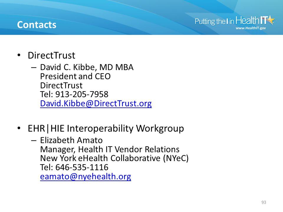 Contacts 93 DirectTrust – David C. Kibbe, MD MBA President and CEO DirectTrust Tel: 913-205-7958 David.Kibbe@DirectTrust.org David.Kibbe@DirectTrust.o