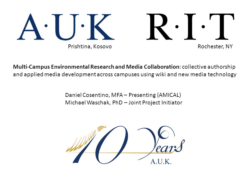 Multi-Campus Environmental Research and Media Collaboration PLIG Rubric, RIT