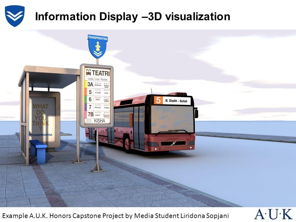 Information Display –3D visualization Example A.U.K. Honors Capstone Project by Media Student Liridona Sopjani