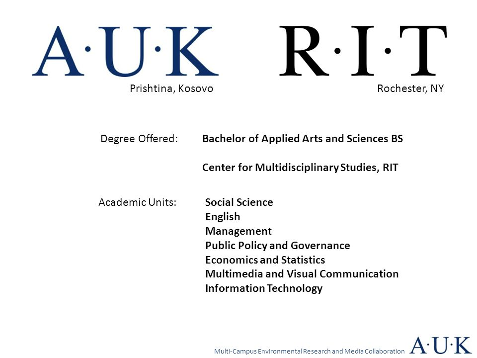 Bachelor of Applied Arts and Sciences BS Center for Multidisciplinary Studies, RIT Degree Offered: Academic Units:Social Science English Management Pu