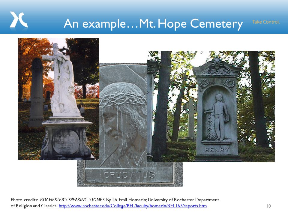 An example…Mt. Hope Cemetery 10 Photo credits: ROCHESTER'S SPEAKING STONES By Th.