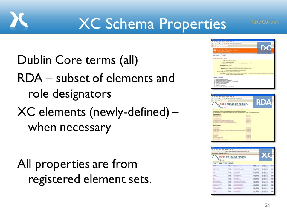 XC Schema Properties Dublin Core terms (all) RDA – subset of elements and role designators XC elements (newly-defined) – when necessary All properties are from registered element sets.