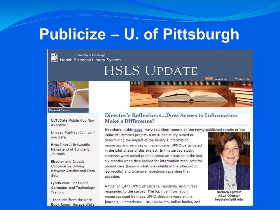 Publicize – U. of Pittsburgh