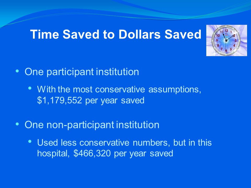 Time Saved to Dollars Saved One participant institution With the most conservative assumptions, $1,179,552 per year saved One non-participant institution Used less conservative numbers, but in this hospital, $466,320 per year saved