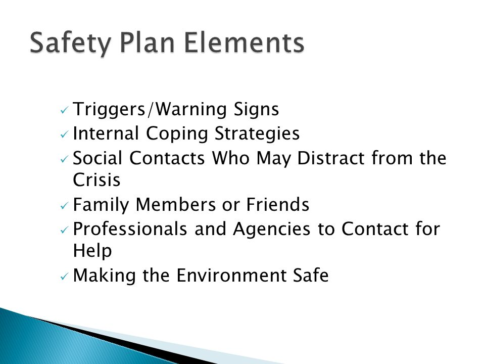 Triggers/Warning Signs Internal Coping Strategies Social Contacts Who May Distract from the Crisis Family Members or Friends Professionals and Agencies to Contact for Help Making the Environment Safe