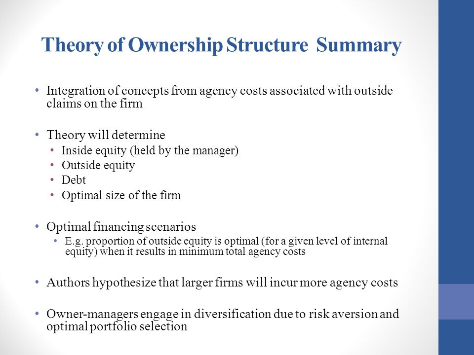 Theory of Ownership Structure Summary Integration of concepts from agency costs associated with outside claims on the firm Theory will determine Insid