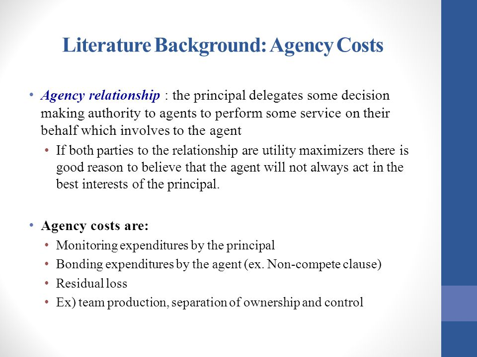 Literature Background: Agency Costs Agency relationship : the principal delegates some decision making authority to agents to perform some service on