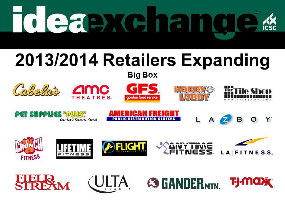 2013/2014 Retailers Expanding Big Box