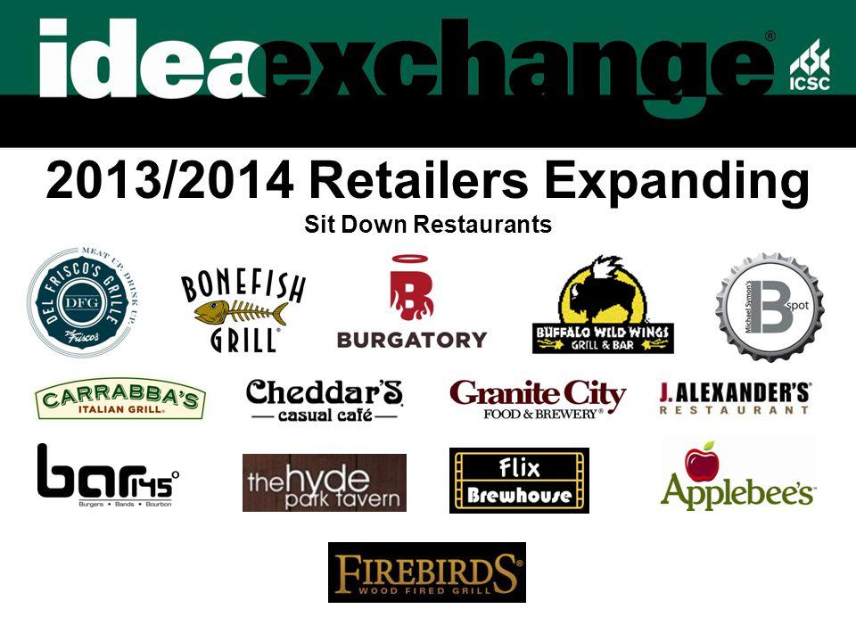 2013/2014 Retailers Expanding Sit Down Restaurants