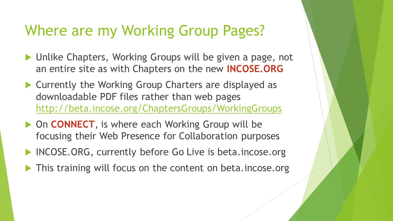 Where are my Working Group Pages.