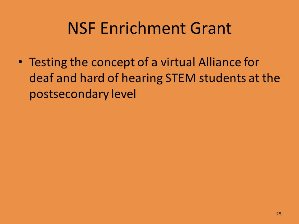 NSF Enrichment Grant Testing the concept of a virtual Alliance for deaf and hard of hearing STEM students at the postsecondary level 28