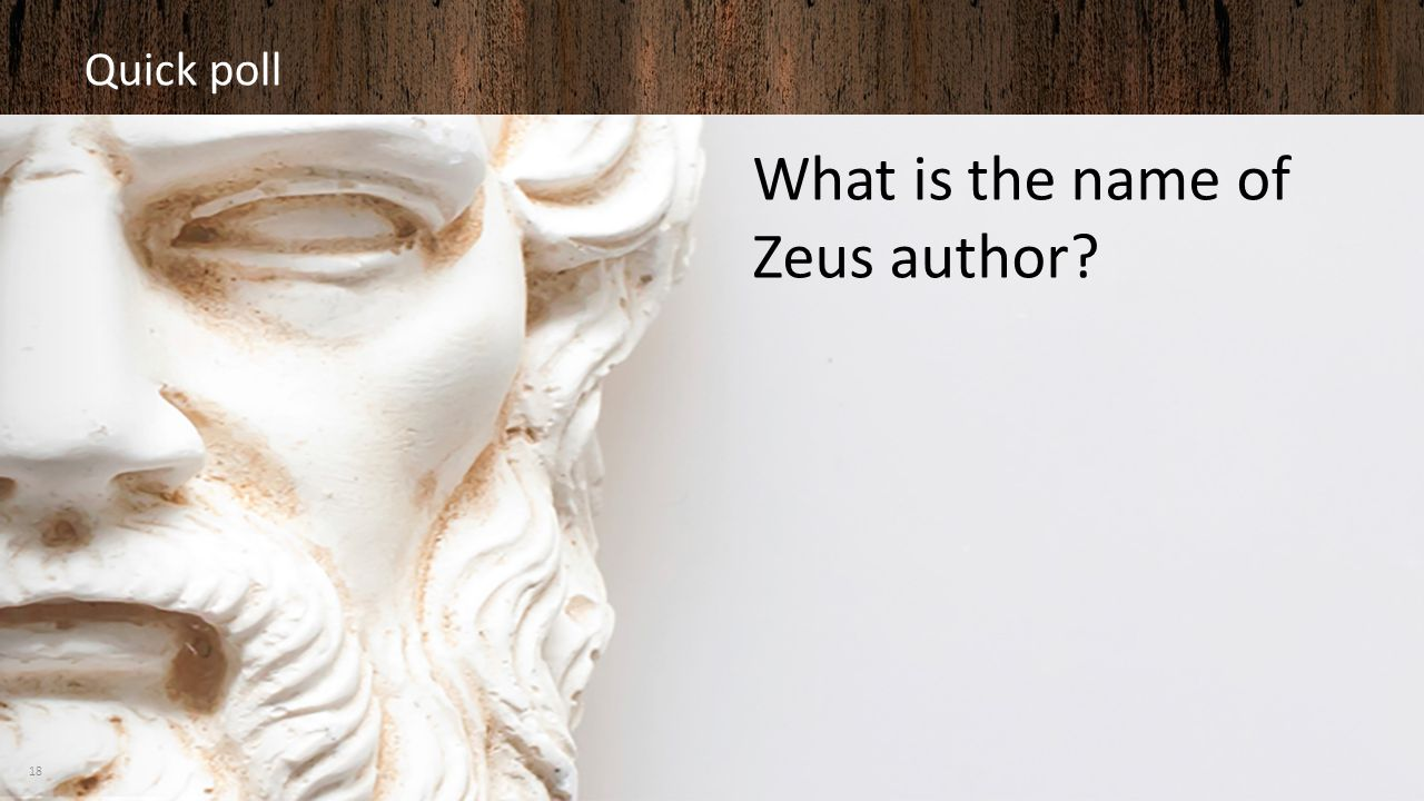 Quick poll What is the name of Zeus author? 18
