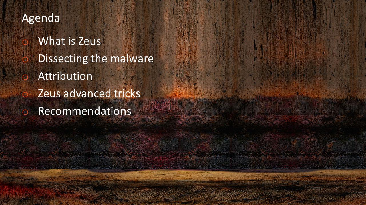Agenda o What is Zeus o Dissecting the malware o Attribution o Zeus advanced tricks o Recommendations 3