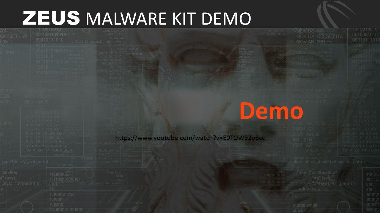 https://www.youtube.com/watch?v=E0TQW82o8cc Demo ZEUS MALWARE KIT DEMO