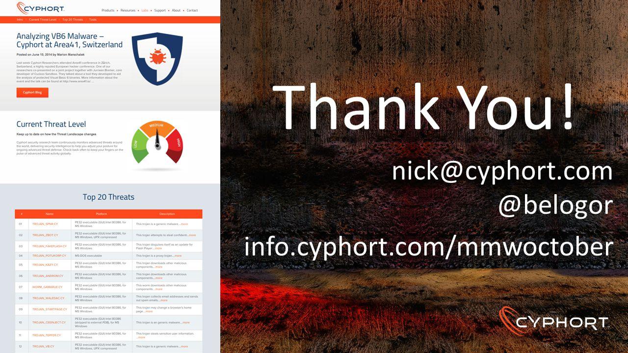 Thank You! nick@cyphort.com @belogor info.cyphort.com/mmwoctober