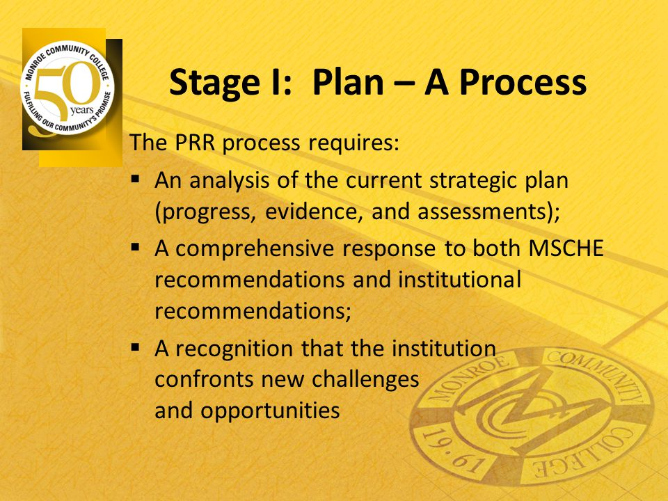 Stage I: Plan – A Process The PRR process requires:  An analysis of the current strategic plan (progress, evidence, and assessments);  A comprehensi