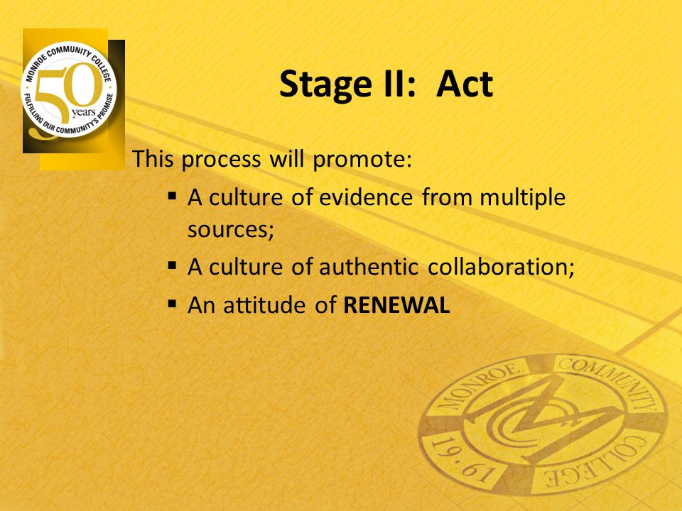 Stage II: Act This process will promote:  A culture of evidence from multiple sources;  A culture of authentic collaboration;  An attitude of RENEW