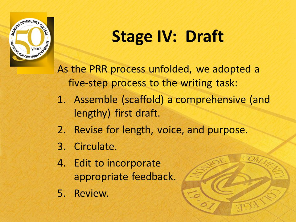 Stage IV: Draft As the PRR process unfolded, we adopted a five-step process to the writing task: 1.Assemble (scaffold) a comprehensive (and lengthy) f
