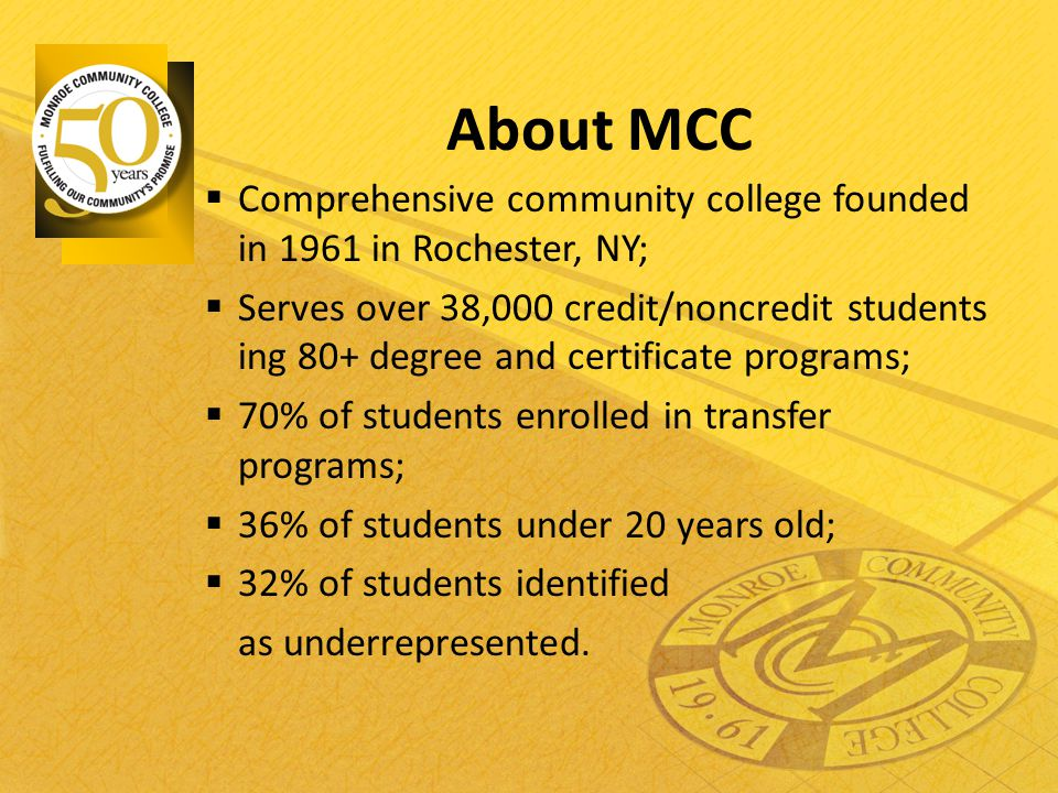 About MCC  Comprehensive community college founded in 1961 in Rochester, NY;  Serves over 38,000 credit/noncredit students ing 80+ degree and certif