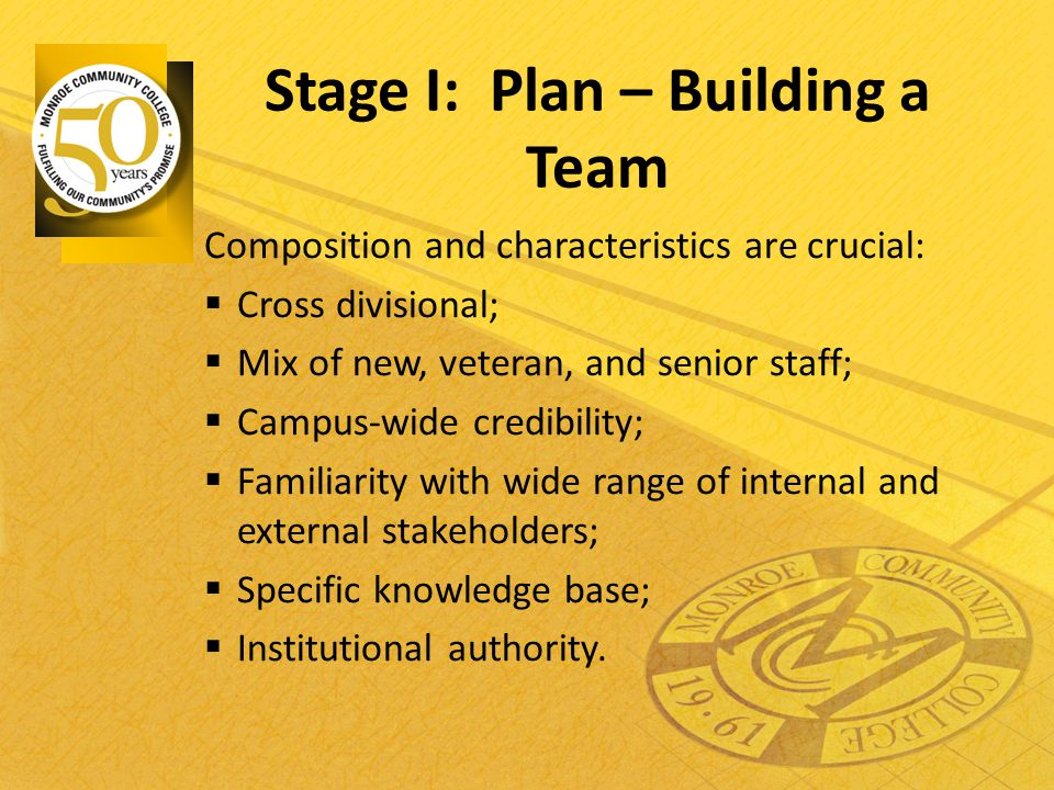 Stage I: Plan – Building a Team Composition and characteristics are crucial:  Cross divisional;  Mix of new, veteran, and senior staff;  Campus-wid