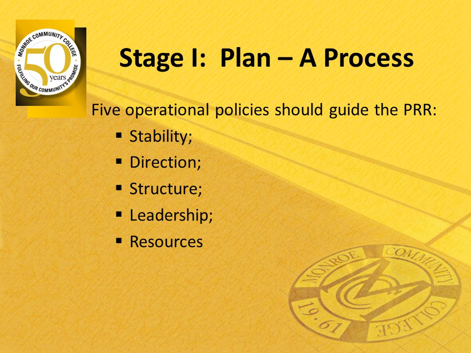 Stage I: Plan – A Process Five operational policies should guide the PRR:  Stability;  Direction;  Structure;  Leadership;  Resources