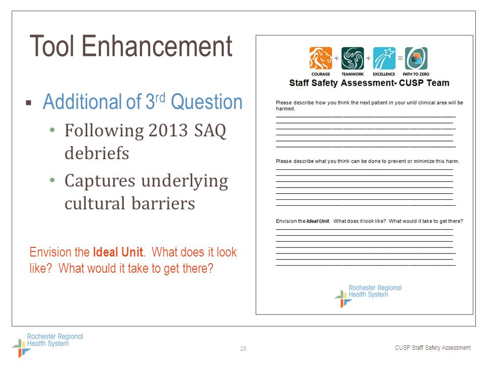 CUSP Staff Safety Assessment Tool Enhancement  Additional of 3 rd Question Following 2013 SAQ debriefs Captures underlying cultural barriers 28 Envis