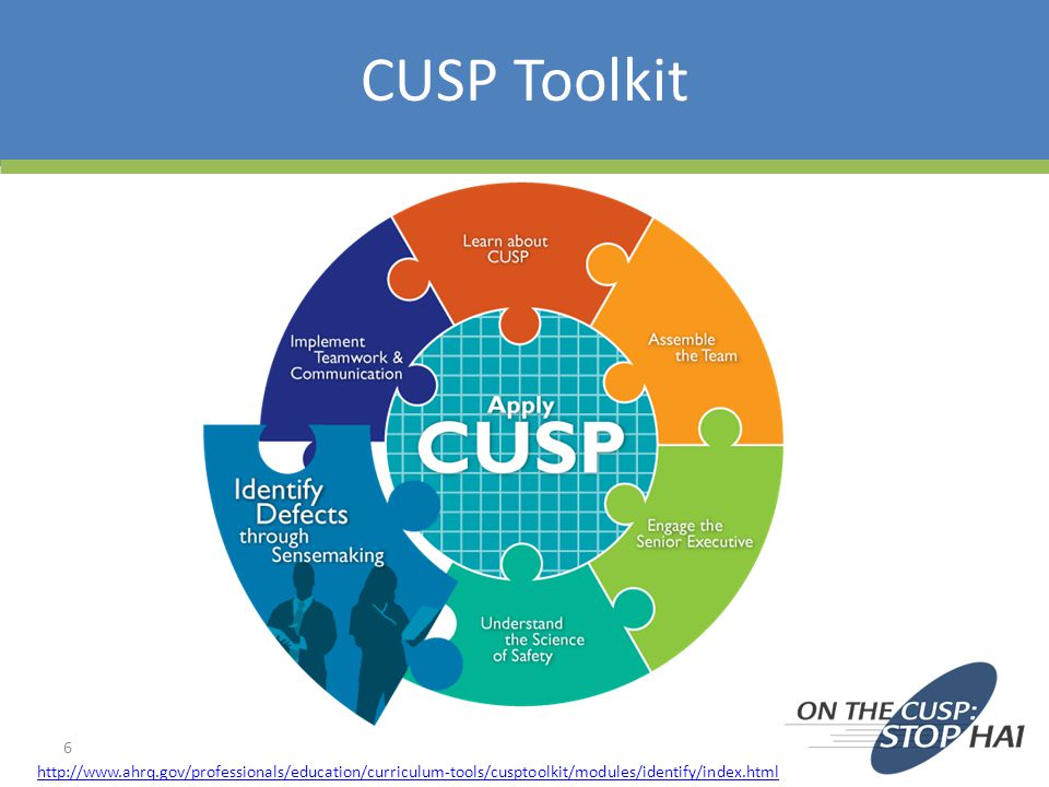 http://www.ahrq.gov/professionals/education/curriculum-tools/cusptoolkit/modules/identify/index.html CUSP Toolkit 6