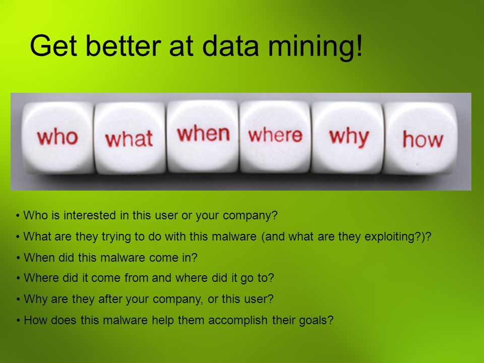 Get better at data mining.Who is interested in this user or your company.