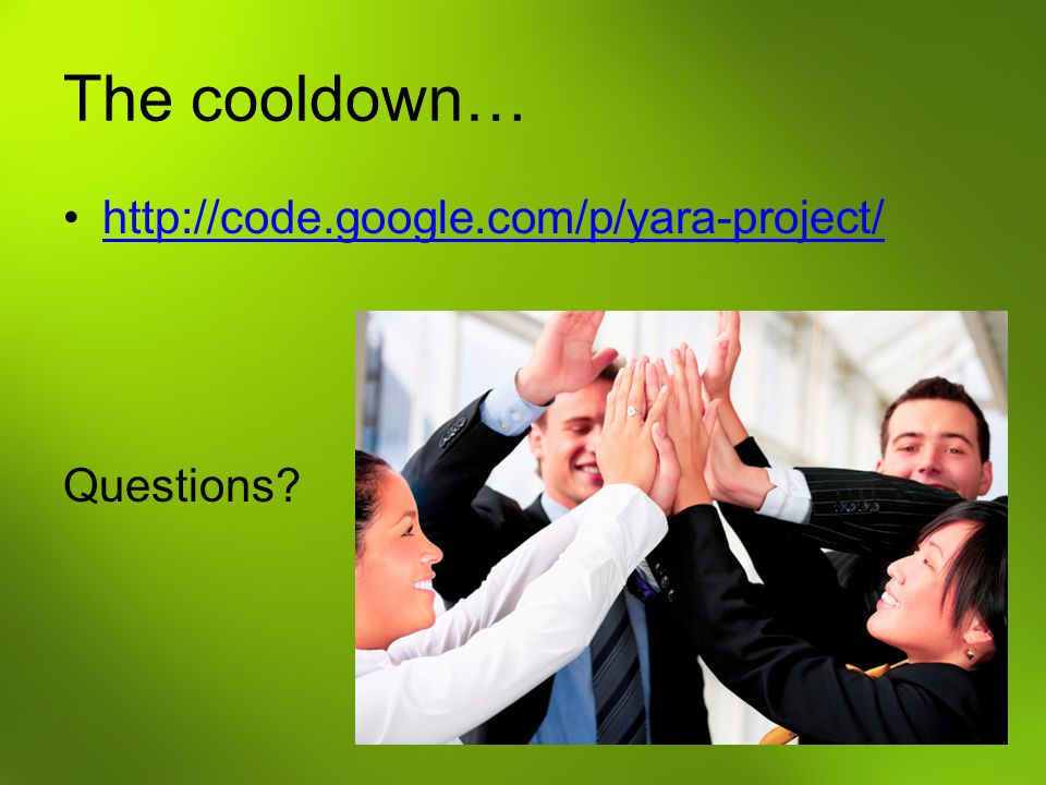 The cooldown… http://code.google.com/p/yara-project/ Questions?