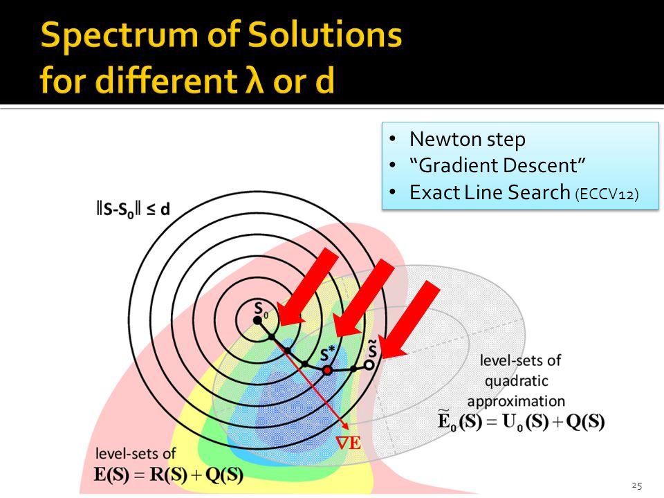 "25 Newton step ""Gradient Descent"" Exact Line Search (ECCV12) Newton step ""Gradient Descent"" Exact Line Search (ECCV12)"