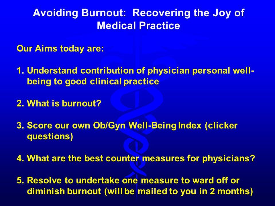 Physician's Well-Being Index Dyrbye LN, et.al. J Gen Intern Med 2012;28:421-27.