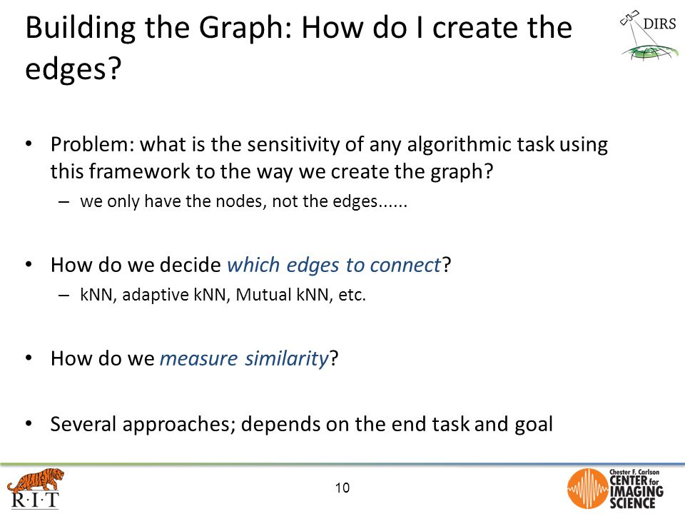 Building the Graph: How do I create the edges? Problem: what is the sensitivity of any algorithmic task using this framework to the way we create the