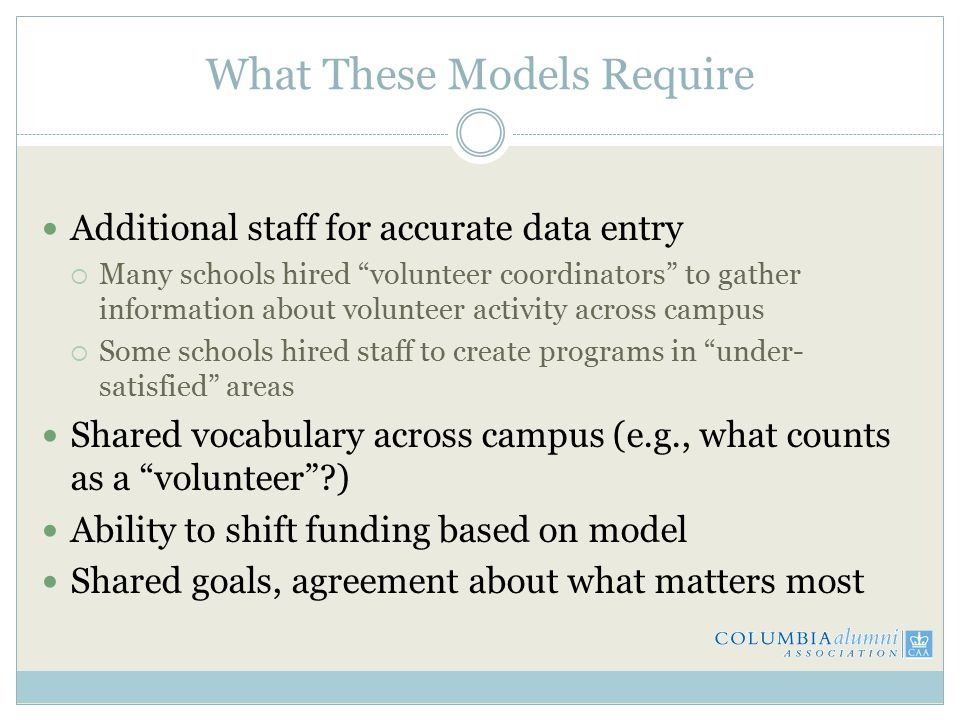 What These Models Require Additional staff for accurate data entry  Many schools hired volunteer coordinators to gather information about volunteer activity across campus  Some schools hired staff to create programs in under- satisfied areas Shared vocabulary across campus (e.g., what counts as a volunteer ) Ability to shift funding based on model Shared goals, agreement about what matters most
