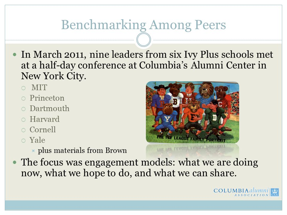 Benchmarking Among Peers In March 2011, nine leaders from six Ivy Plus schools met at a half-day conference at Columbia's Alumni Center in New York City.