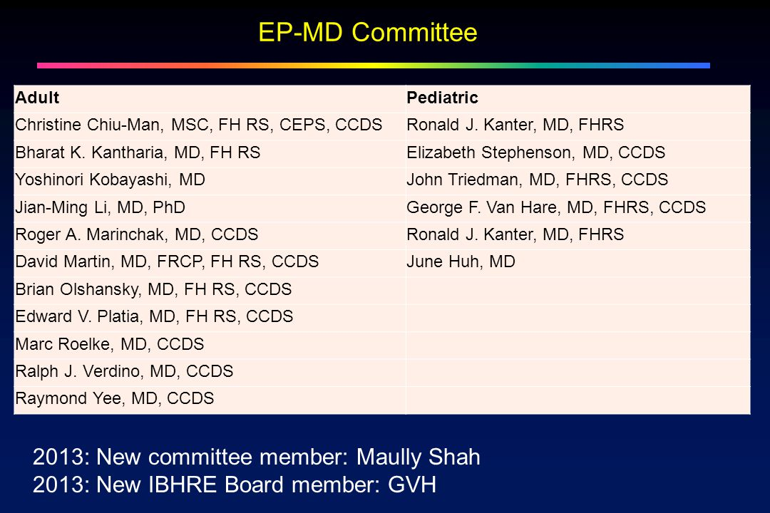 EP-MD Committee AdultPediatric Christine Chiu-Man, MSC, FH RS, CEPS, CCDSRonald J.