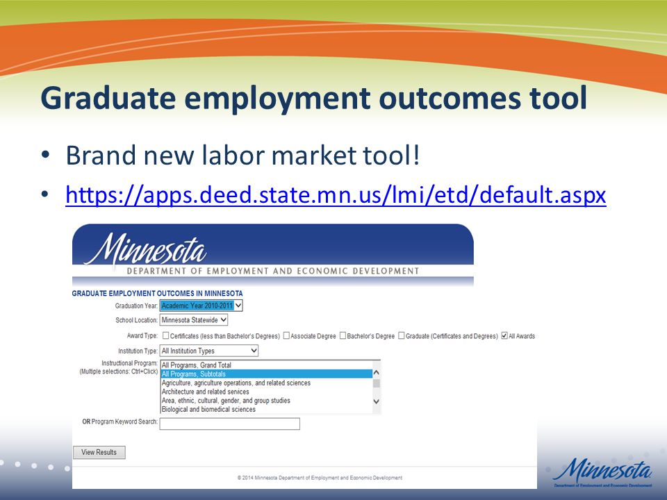 Graduate employment outcomes tool Brand new labor market tool.