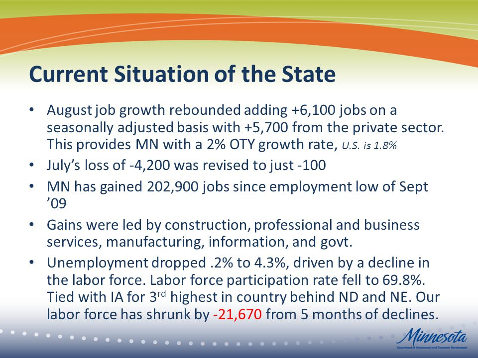 Current Situation of the State August job growth rebounded adding +6,100 jobs on a seasonally adjusted basis with +5,700 from the private sector.