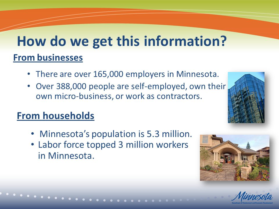 How do we get this information. From businesses There are over 165,000 employers in Minnesota.