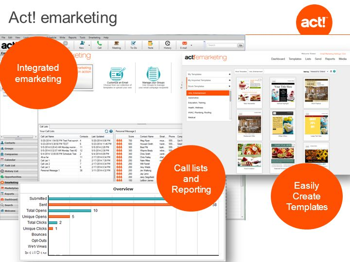 Act! emarketing Integrated emarketing Call lists and Reporting Easily Create Templates Slide 10