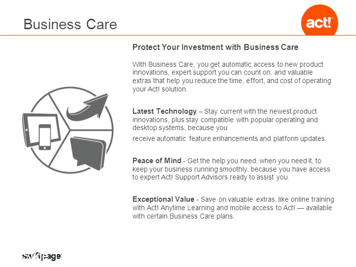 Business Care Protect Your Investment with Business Care With Business Care, you get automatic access to new product innovations, expert support you can count on, and valuable extras that help you reduce the time, effort, and cost of operating your Act.
