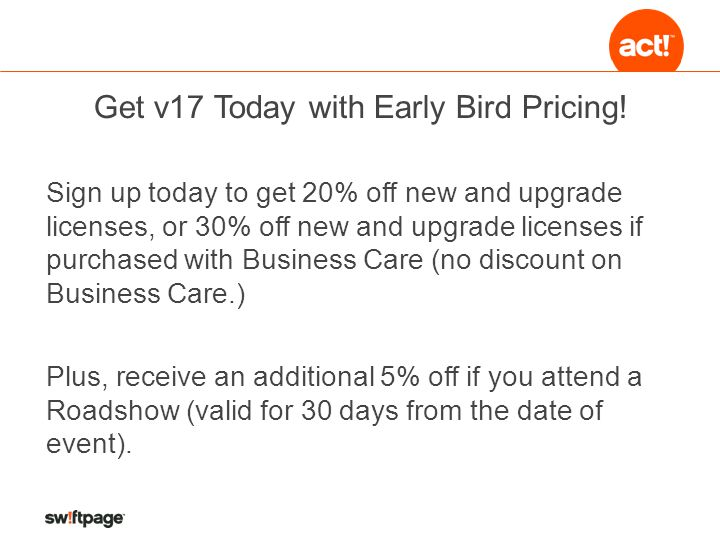 Get v17 Today with Early Bird Pricing.