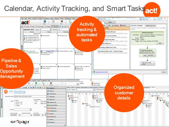 Calendar, Activity Tracking, and Smart Tasks Activity tracking & automated tasks Pipeline & Sales Opportunity Management Organized customer details Slide 9