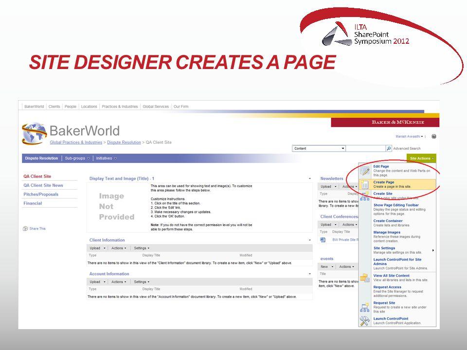 SITE DESIGNER CREATES A PAGE